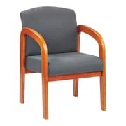 Office Star™ Wood Guest Chair, Medium Oak Finish Wood with Graphite Fabric