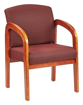 Office Star® Custom Oak Wood Visitor's Chair, Inferno