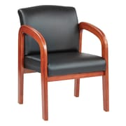 Office Star Wood Guest Chair Medium Oak Finish Wood with Black Faux Leather (WD380-U6)