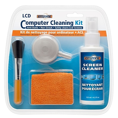 Empack – Ensemble de nettoyant pour ordinateur avec vaporisateurs, chiffon, brosse et air Emzone 47073, p./12