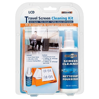 Emzone 47077 Travel Screen Cleaning Kit with Spray, Cloth & Wipes, 12 pack