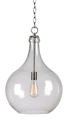 Kenroy Home Rhone 1 Light Pendant Brushed Steel Finish (93186CLR)