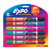 Expo 2in1 Low Odour Dry Erase Markers, Chisel, 12 Assorted Colours, 6/Pack