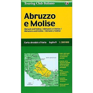 Abruzzo, Molise Map (Touring Club Italiano), New Book (9788836528295)