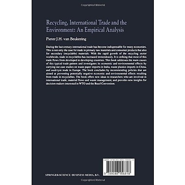 Recycling, International Trade and the Environment: An Empirical Analysis, New Book (9789048156818)