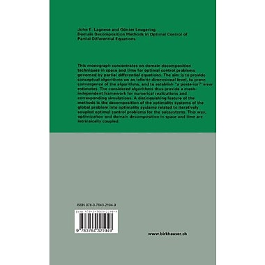 Domain Decomposition Methods in Optimal Control of Partial Differential Equations(International Series, New Book (9783764321949)