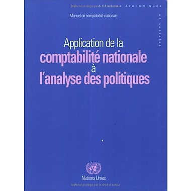 Manuel de ComptabilitE Nationale: Application de la ComptabilitE Nationale à l'Analyse des Poli, New Book (9789212611884)