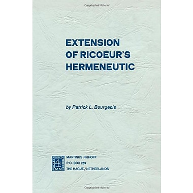 Extension of Ricoeur's Hermeneutic, Used Book (9789024717194)