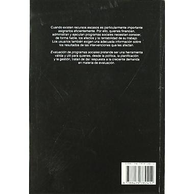 Evaluacion de Programas Sociales (Spanish Edition) (9788479782412)