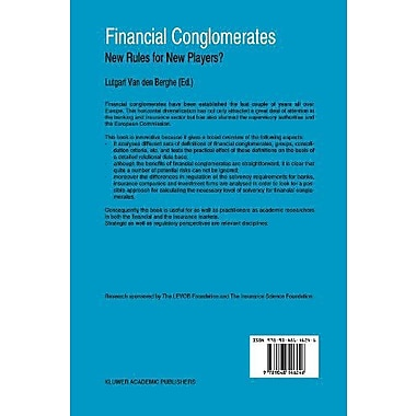 Financial Conglomerates: New Rules for New Players?, New Book (9789048146246)