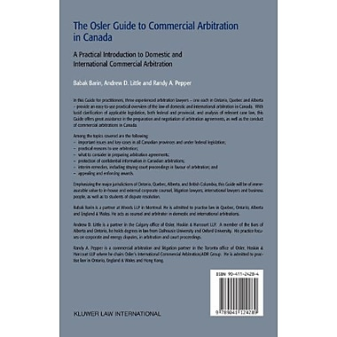 The Osler Guide To Commercial Arbitration in Canada. A Practical Introduction To Domestic and Interna, Used Book (9789041124289)