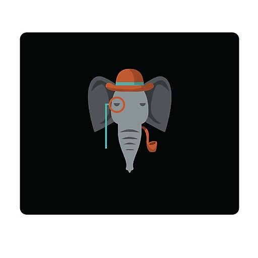 OTM Prints Black Mouse Pad, Elephant