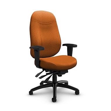 Global Granada Deluxe High Back Multi Tilter, Match, Orange Fabric, Orange