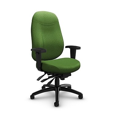 Global Granada Deluxe High Back Multi Tilter, Match, Green Fabric, Green