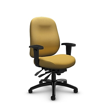 Global Granada Deluxe Mid Back Multi Tilter, Imprint, Currie Fabric, Yellow