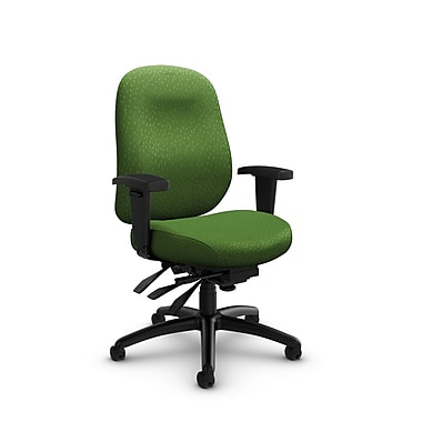 Global Granada Deluxe Mid Back Multi Tilter, Match, Green Fabric, Green