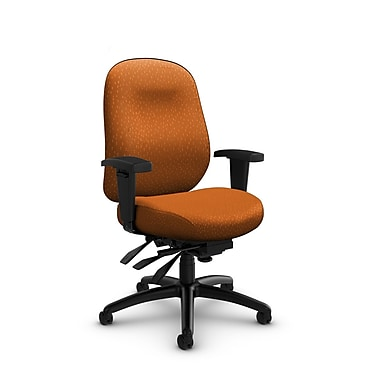 Global Granada Deluxe Heavy Duty Low Back Multi Tilter, Match, Orange Fabric, Orange