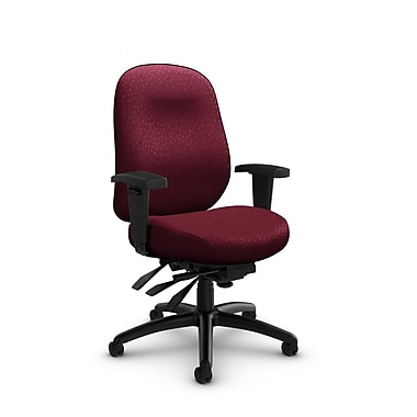 Global Granada Deluxe Heavy Duty Low Back Multi Tilter, Match, Burgundy Fabric, Red