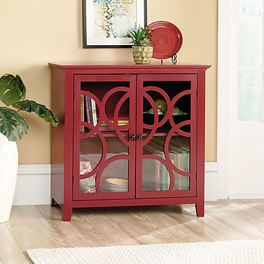 Sauder Shoal Creek Elise Display Cabinet, Plum Red