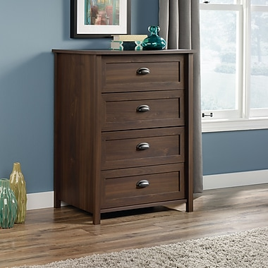 Sauder County Line 4-Drawer Chest, Rum Walnut