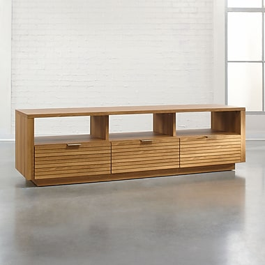 Sauder Soft Modern Entertain Credenza, Pale Oak 2 Ctns