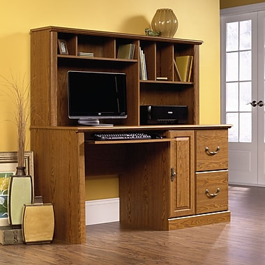 Sauder Orchard Hills Comp Desk with Hutch, Carolina Oak 2 Ctns