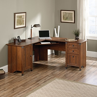 Sauder Carson Forge Corner Computer Desk, Washington Cherry 2 Ctns