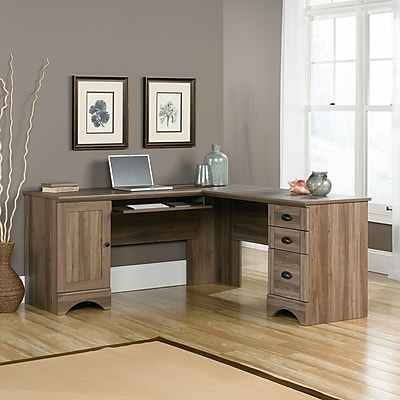 Sauder Harbor View Corner Computer Desk Salt Oak 2 Ctns Staples