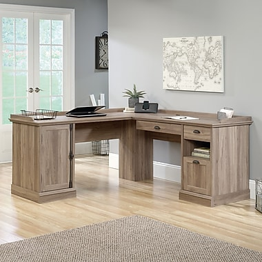 Sauder Barrister Lane L-Desk, Salt Oak 2 Ctns