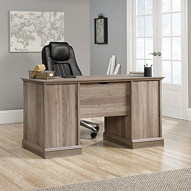 Sauder Barrister Lane Executive Desk, Salt Oak, 2 Cartons