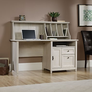 Sauder Edge Water Computer Desk with Hutch, Chalked Chestnut 2 Ctns