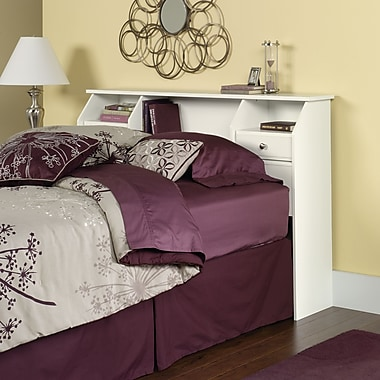Tête de lit/bibliothèque pour lit double/grand lit Shoal Creek, blanc doux