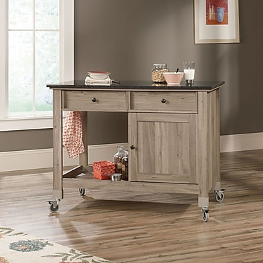 Sauder Mobile Kitchen Island, Salt Oak