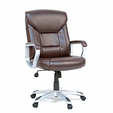 Chaise de bureau en cuir, brun