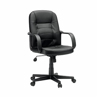 Sauder Gruga Leather Manager Chair, Black