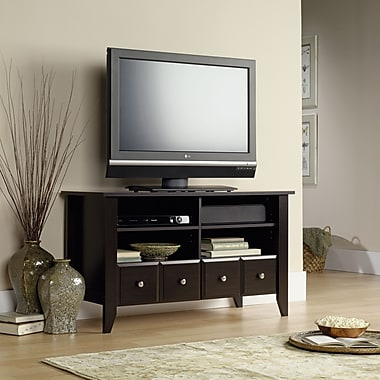 Sauder Shoal Creek Panel TV Stand, Jamocha Wood