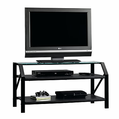 Sauder Beginnings Panel TV Stand, Black/Clear