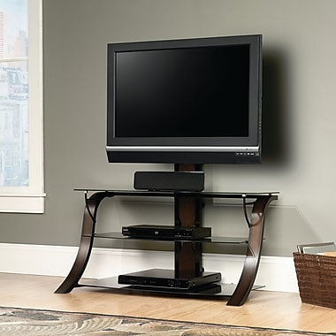 Sauder Veer Panel TV Stand With TV Mount, Black