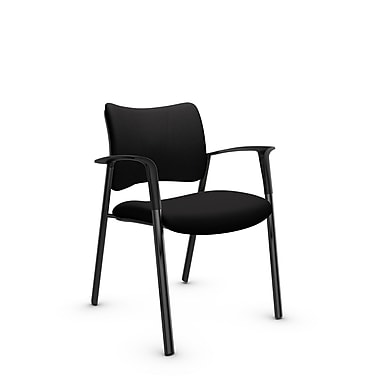 Global Zoma Designer Armchair, Imprint, Licorice Fabric, Black