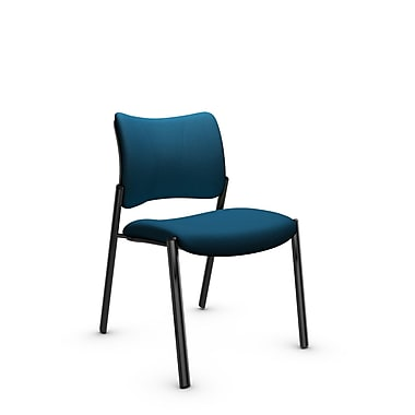 Global Zoma Designer Side Chair, Imprint, Navy Fabric, Blue