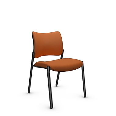 Global Zoma Designer Side Chair, Imprint, Paprika Fabric, Orange