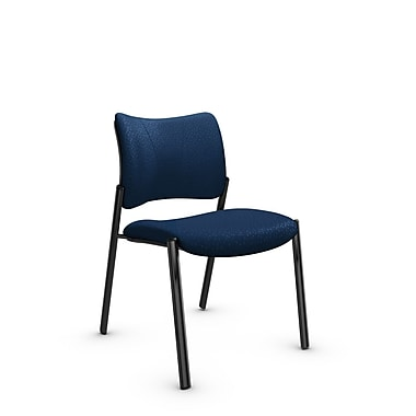 Global Zoma Designer Side Chair, Match, Wave Fabric, Blue