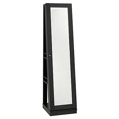 Brassex 151188 3-Tier Jewellery Cabinet with Mirror & Castors, Black