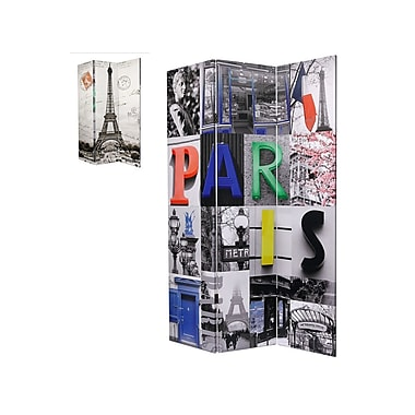 Brassex MX-1014 Room Divider, Paris Print