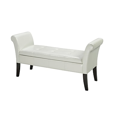 Brassex 0819-WH Bench with Storage, White