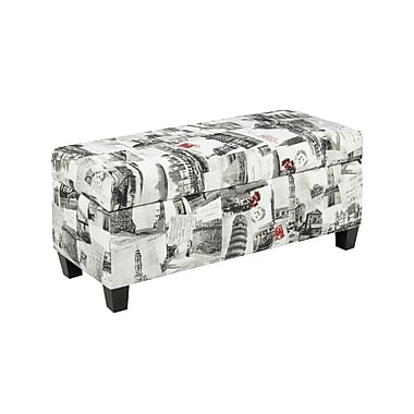 Cayman 2006-CT Storage Ottoman, City Print Fabric