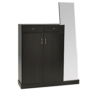 Brassex 13628 Shoe Cabinet with 2 Storage Drawers and Mirror, Dark Cherry