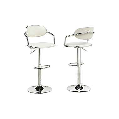 Brassex – Tabouret de bar réglable YS-8628-WH, lot de 2, blanc