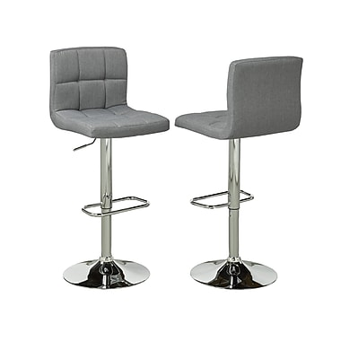 Brassex YS-8052-GR Adjustable Bar Stool, Set of 2, Grey