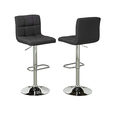 Brassex – Tabouret de bar réglable YS-8052-BK, lot de 2, noir